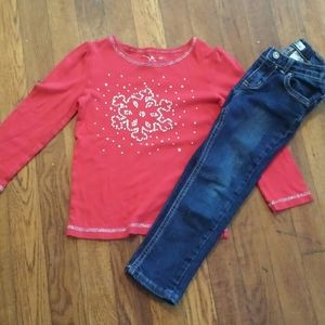Jumping beans red snowflake shirt and skinny jeans